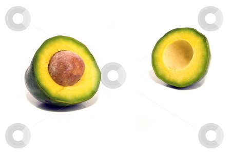 Avocado stock photo, Avocado halfs with pit in center isolated by Jack Schiffer