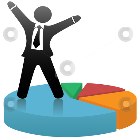 Symbol Business Man Celebrates Market Share Success on Pie Chart stock vector clipart, A symbol business man celebrates a financial market share success standing on a colorful pie chart. by Michael Brown