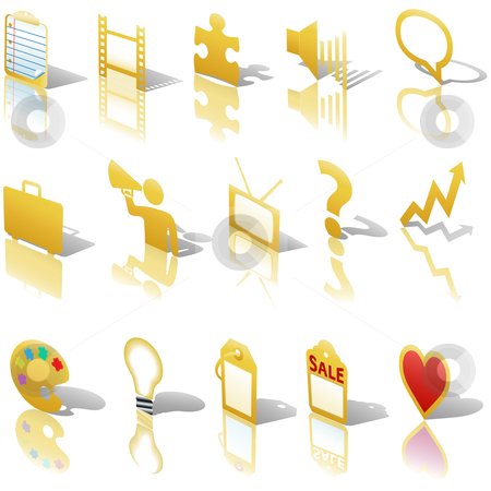 Communications Media Business Icons Reflections Shadows Set Angl stock vector clipart, A gold web Communications or Media business icon set, angled with reflections and shadows. Website symbols. by Michael Brown