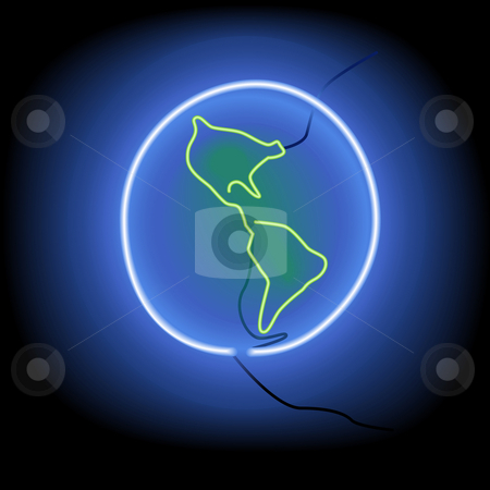 Glowing Neon Sign Earth as Symbol Icon on Black stock vector clipart, A glowing, neon sign illustration of the earth on a black wall, western hemisphere. Maybe an icon. by Michael Brown