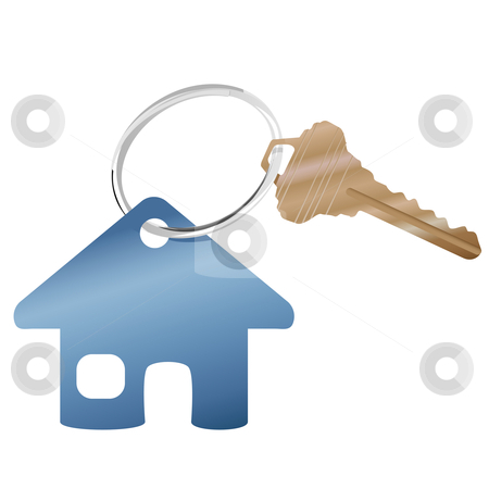 House key ring & real estate website home symbol stock vector clipart, A shiny key ring with a brass house key and real estate or website home symbol. by Michael Brown