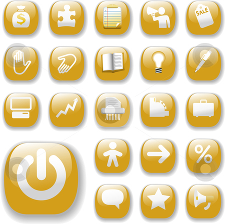 Shiny Buttons Icons Business Internet Website Set Gold stock vector clipart, Shiny Gold Control Button Icons, internet website navigation symbols: money bag, puzzle piece, megaphone, people, bullhorn, price tag, power on, briefcase... by Michael Brown