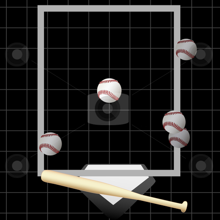 Strike 3 Baseball Pitching Balls Strikeout Bat Home stock vector clipart, TV style pitch tracking graphic of an at bat with 5 pitches & a strikeout pitch down the middle of home plate. by Michael Brown