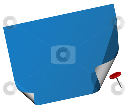 Blank notepad and push pin stock photo, The push pin has a clipping path so that it can be moved easily. by Karen Koomans
