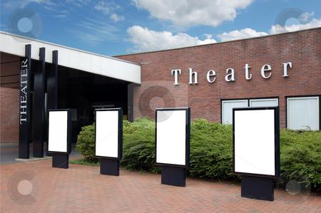 Blank Billboards in front of Theater stock photo,  by Karen Koomans