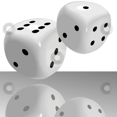 Big Fat Pair of Dice Roll  Lucky 7 with Reflection stock vector clipart, A big fat pair of glossy dice roll lucky seven 7 over a shiny casino floor with reflection.  (The dice can be easily edited; however, the reflection has been flattened and cannot be easily edited.) by Michael Brown
