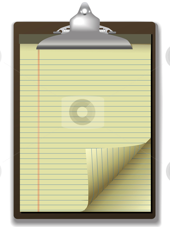 Clipboard Yellow Legal Pad Corner Paper Page Curl stock vector clipart, Pages of yellow legal ruled notebook pad paper - page curl flip and drop shadows- on a clipboard. Easily tilt or otherwise edit it. by Michael Brown