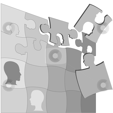 Puzzling People Faces Human Mental Jigsaws Puzzle stock vector clipart, The gray areas of a Puzzling People Faces jigsaw puzzle suggests the complexity of mental health and other human issues. by Michael Brown