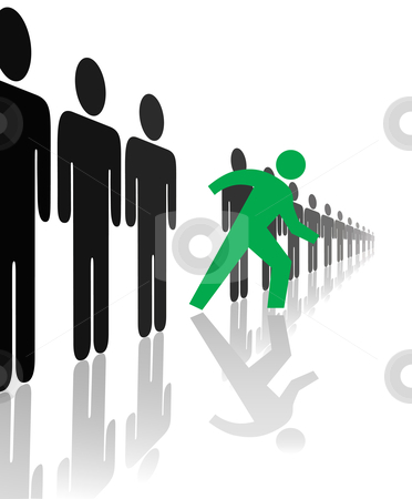Bold Symbol Person Steps Out Of Line with reflections stock vector clipart, A bold green symbol person steps forward out line from the crowd, with reflections. by Michael Brown