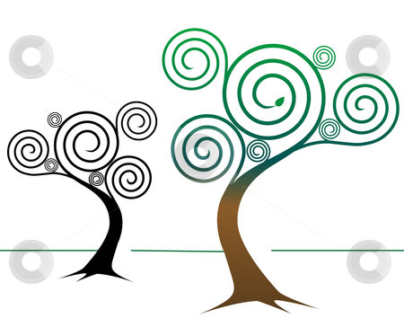 Spirally Tree Designs stock vector clipart, Two spirally abstract tree designs: One colorful, springtime tree, one tree design in black by Michael Brown