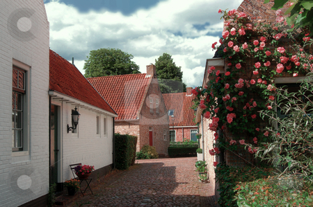 17th Century Style Houses stock photo, These houses were built in the1990's, in the style of the 17th century. They are not privately owned but part of a tourist attraction. Bourtange, The Netherlands. by Karen Koomans