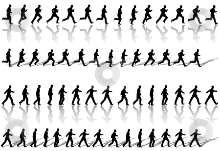 Business Man Frame Sequence Loops Run & Power Walk stock vector clipart, A business man runs & power walks to success in animation' sequence frame loops, with reflection and shadow. Use cels as elements,  sequences as borders. by Michael Brown