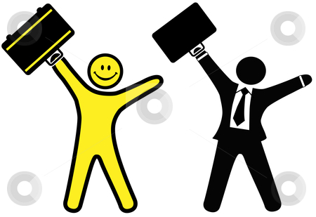 Smiley happy face & business man in suit & tie celebrate success stock vector clipart, A smiley happy face & business man in a suit & tie raise briefcases to celebrate success. by Michael Brown