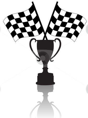 Crossed Checkered Flags and Victory Trophy Cup Symbols of Winnin stock vector clipart, Silhouettes of Crossed checkered flags & a victory trophy cup, symbols of winning. With reflection. by Michael Brown
