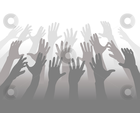 Hands of a Crowd of People Reach for Copyspace stock vector clipart, A crowd of people blending in shades of gray reach up their hands for white copyspace. by Michael Brown