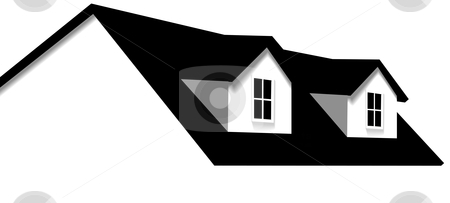 House Abstract Home Roof Element with 2 Dormer Windows stock vector clipart, Clean abstract house design element. Roof with 2 dormer windows for sale, for real estate, construction, architecture, home repair designs. by Michael Brown