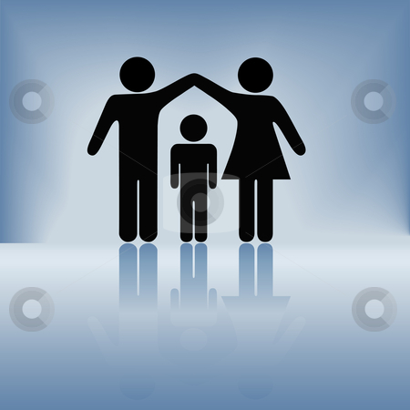 Mother Father Child Family Security Arms Roof stock vector clipart, A mother and father hold up arms over their child to form a roof of security, protection, and safety on a blue background with reflection. by Michael Brown