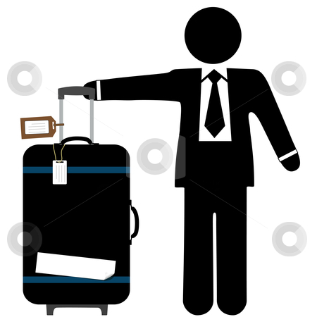 Business Man Traveler & Suitcase with Luggage Tags stock vector clipart, A business man traveler with a black suitcase, pull handle up, and copyspace on luggage tags and sticker tape. by Michael Brown