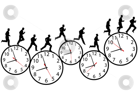 Businessman in a hurry runs on time clocks stock vector clipart, A business man runs in a hurry runs on clocks. Through the business day on a row of time clocks. Animation-like sequence of frames. by Michael Brown