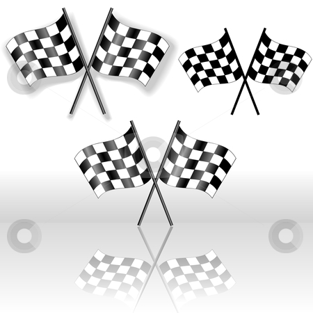 Checkered Flags Crossed Drop Shadow Reflection Symbol stock vector clipart, A set of crossed checkered flags, with drop shadow and with reflection. Icons, Symbols of victory. by Michael Brown