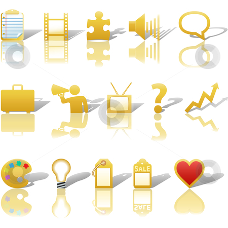 Communications Media Business Icons Reflections Shadows Set 3 Go stock vector clipart, A gold, web Communications or Media business icon set, with reflections and shadows. by Michael Brown