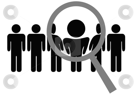 Magnifying Glass Chooses Inspects Man in Row of People stock vector clipart, A magnifying glass selects or inspects a person in a line of people: choose for employment, recognition, promotion, hire, etc. by Michael Brown