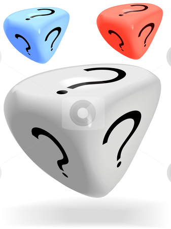 3 Shiny 3 Sided Mystery Dice Roll a Question Mark stock vector clipart, Three shiny 3 sided mystery dice roll a lucky question mark, in red, blue and white. by Michael Brown