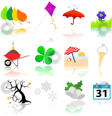 Seasons Change Icons stock vector clipart, A year's worth of icons depicting changing of the four seasons. by Michael Brown