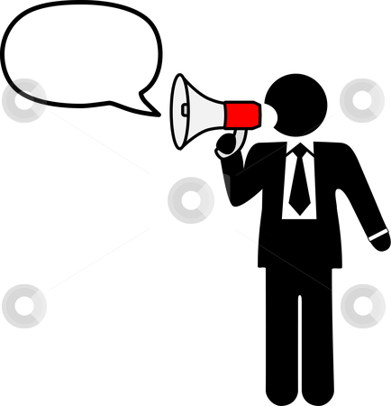 Big Mouth Business Symbol Man to Broadcast Talk in Bullhorn stock vector clipart, Big mouth business symbol man to broadcast a talk, ad, announcement, communication in a bullhorn & speech balloon. by Michael Brown