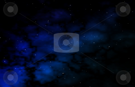 The Final Frontier stock photo, Space scene with a subtle bluish space cloud. by Dave Navarro