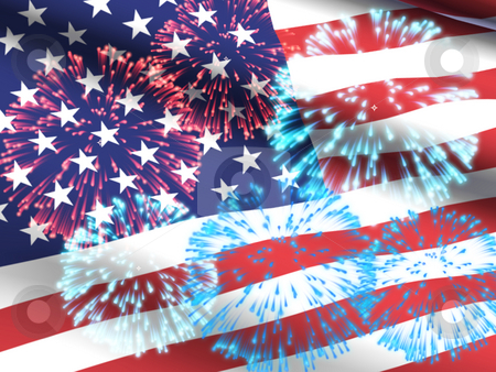 USA flag with fireworks stock photo, USA Flag flowing with red, white and blue fireworks superimposed. by Dave Navarro