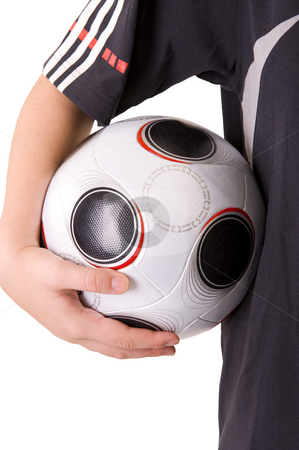 Soccer stock photo, Young female soccer player holding the ball. Isolated on white. by Nicolaas Traut