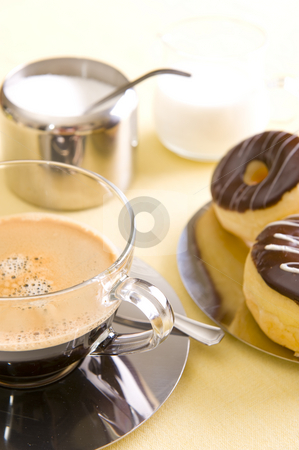 Coffee and Cake stock photo, Freshly brewed coffee with a selection of pastries and cakes. by Nicolaas Traut