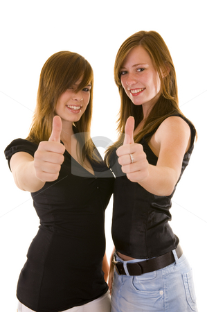 Beautiful young business ladies stock photo, Beautiful young business ladies indicating thumbs up and smiling, isolated on white. by Nicolaas Traut