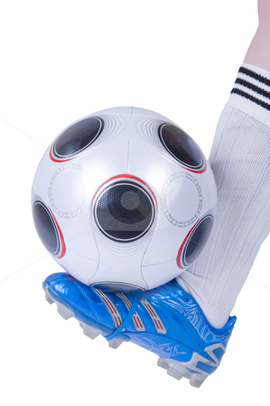 Soccer stock photo, Soccer boot and ball isolated on a white background. by Nicolaas Traut