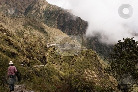 Paqaymayo to Sayacmarca to Chaquicocha to Phuyupatamarca to Wi?a stock photo, Most popular of the Inca trails for trekking is the Capaq ?an trail, which leads from the village of Ollantaytambo to Machu Picchu by Mariusz Jurgielewicz