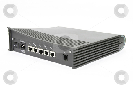 DSL modem stock photo, 4 ports DSL modem isolated on white background by Jonas Marcos San Luis