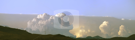 Storms on the horizon stock photo, Panorama of 4 views of thunderstorm against the horizon by Serge VILLA