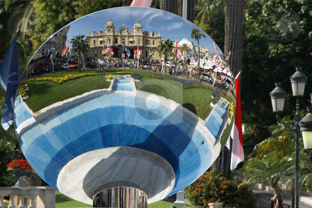 Mirror stock photo, Reflection of Monaco Casino in an outdoor miror by Serge VILLA