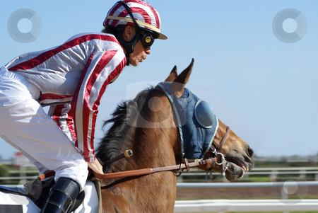 Horse racing stock photo, Jockey riding a horse during a race by Serge VILLA