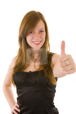 Beautiful young business lady stock photo, Beautiful young business lady indicating thumbs up and smiling, isolated on white. by Nicolaas Traut