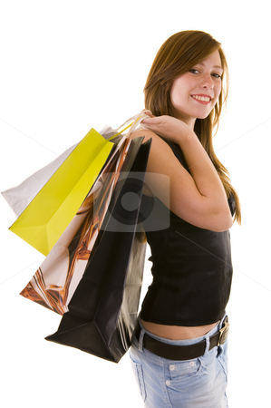 Beautiful young business lady stock photo, Beautiful young business lady indicating and shopping, looking happy, isolated on white. by Nicolaas Traut
