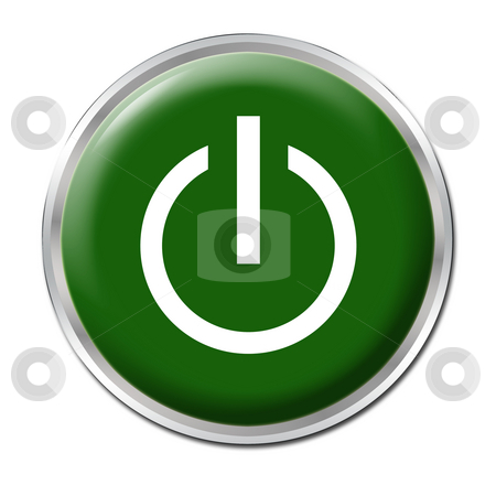 On/Off Button stock photo, Green button with the symbol On/Off by Petr Koudelka