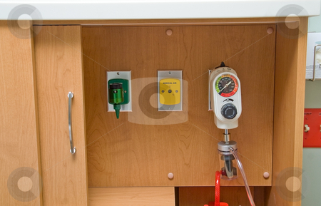 Hospital Air, Oxygen and Vacuum stock photo, Hospital Air, Oxygen and Vacuum mounted to a cabinet. by Robert Byron