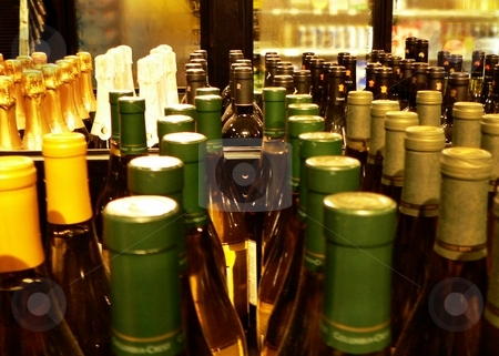 Wine bottles stock photo, Interior detail of retail wine store by Perry Correll