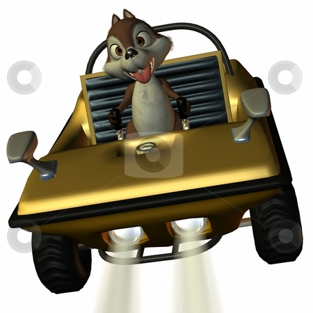 Fun Car with Toon Squirrel stock photo, 3D Render of an Fun Car with Toon Squirrel by Andreas Meyer