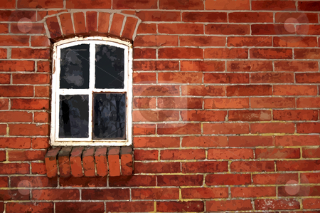 Illustration of an old wall. stock photo, Illustration derived from a photo. Old brick wall with a stable window. by Karen Koomans