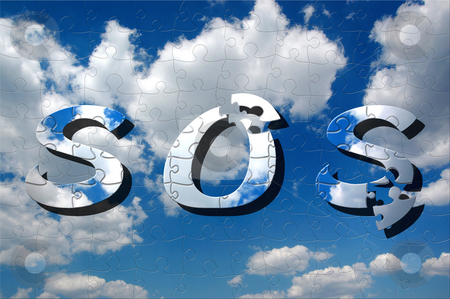SOS - Save the planet stock photo, Help to solve the puzzle how to save the planet. Concept environmental protection. by Karen Koomans