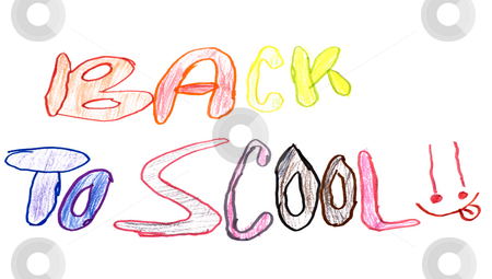 Back To Scool stock photo, A child's drawing of a poster saying back to school by Richard Nelson