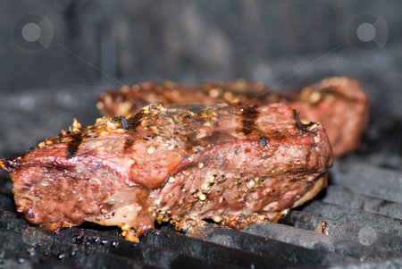 Barbecued Meat stock photo, Some fresh meat being barbecued on the grill by Richard Nelson